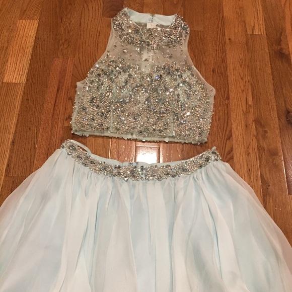 Amelia Couture Dresses Light Sky Blue 2 Piece Prom Homecoming
